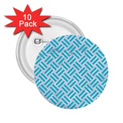 Woven2 White Marble & Turquoise Colored Pencil (r) 2 25  Buttons (10 Pack)  by trendistuff
