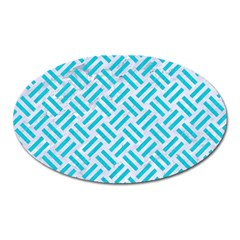Woven2 White Marble & Turquoise Colored Pencil (r) Oval Magnet by trendistuff