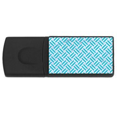 Woven2 White Marble & Turquoise Colored Pencil (r) Rectangular Usb Flash Drive by trendistuff