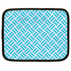 Woven2 White Marble & Turquoise Colored Pencil (r) Netbook Case (xl)  by trendistuff