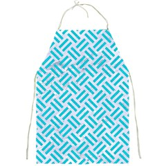 Woven2 White Marble & Turquoise Colored Pencil (r) Full Print Aprons by trendistuff
