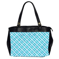 Woven2 White Marble & Turquoise Colored Pencil (r) Office Handbags (2 Sides)  by trendistuff