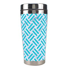 Woven2 White Marble & Turquoise Colored Pencil (r) Stainless Steel Travel Tumblers by trendistuff