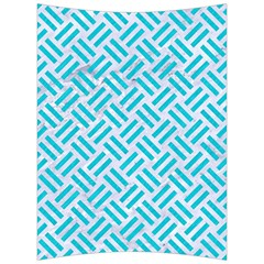 Woven2 White Marble & Turquoise Colored Pencil (r) Back Support Cushion by trendistuff
