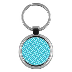Woven2 White Marble & Turquoise Colored Pencil Key Chains (round)  by trendistuff