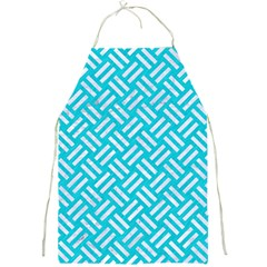 Woven2 White Marble & Turquoise Colored Pencil Full Print Aprons by trendistuff