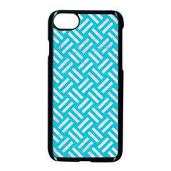 Woven2 White Marble & Turquoise Colored Pencil Apple Iphone 7 Seamless Case (black) by trendistuff
