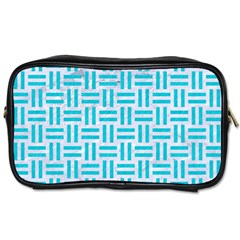 Woven1 White Marble & Turquoise Colored Pencil (r) Toiletries Bags by trendistuff