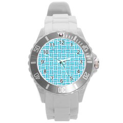 Woven1 White Marble & Turquoise Colored Pencil (r) Round Plastic Sport Watch (l) by trendistuff