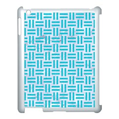 Woven1 White Marble & Turquoise Colored Pencil (r) Apple Ipad 3/4 Case (white) by trendistuff