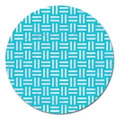 Woven1 White Marble & Turquoise Colored Pencil Magnet 5  (round) by trendistuff