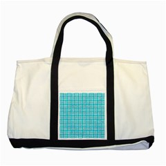 Woven1 White Marble & Turquoise Colored Pencil Two Tone Tote Bag by trendistuff