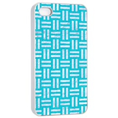 Woven1 White Marble & Turquoise Colored Pencil Apple Iphone 4/4s Seamless Case (white) by trendistuff