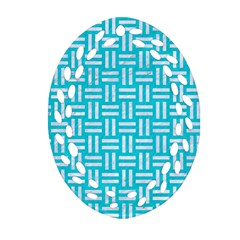 Woven1 White Marble & Turquoise Colored Pencil Oval Filigree Ornament (two Sides) by trendistuff
