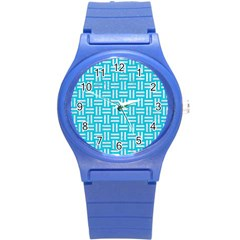 Woven1 White Marble & Turquoise Colored Pencil Round Plastic Sport Watch (s) by trendistuff