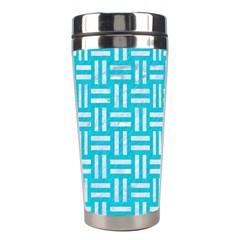 Woven1 White Marble & Turquoise Colored Pencil Stainless Steel Travel Tumblers by trendistuff