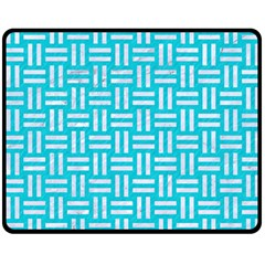Woven1 White Marble & Turquoise Colored Pencil Double Sided Fleece Blanket (medium)  by trendistuff