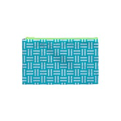 Woven1 White Marble & Turquoise Colored Pencil Cosmetic Bag (xs) by trendistuff