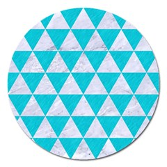 Triangle3 White Marble & Turquoise Colored Pencil Magnet 5  (round) by trendistuff