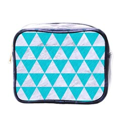 Triangle3 White Marble & Turquoise Colored Pencil Mini Toiletries Bags by trendistuff