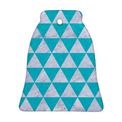 Triangle3 White Marble & Turquoise Colored Pencil Ornament (bell) by trendistuff