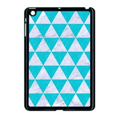 Triangle3 White Marble & Turquoise Colored Pencil Apple Ipad Mini Case (black) by trendistuff