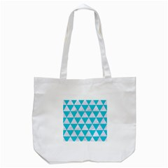 Triangle3 White Marble & Turquoise Colored Pencil Tote Bag (white) by trendistuff