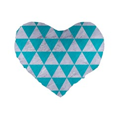 Triangle3 White Marble & Turquoise Colored Pencil Standard 16  Premium Flano Heart Shape Cushions by trendistuff