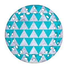 Triangle2 White Marble & Turquoise Colored Pencil Ornament (round Filigree) by trendistuff