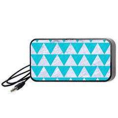 Triangle2 White Marble & Turquoise Colored Pencil Portable Speaker by trendistuff