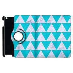 Triangle2 White Marble & Turquoise Colored Pencil Apple Ipad 3/4 Flip 360 Case by trendistuff