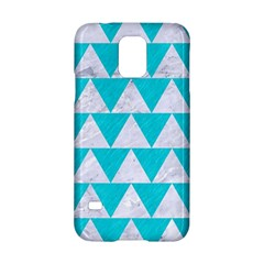 Triangle2 White Marble & Turquoise Colored Pencil Samsung Galaxy S5 Hardshell Case  by trendistuff