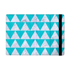 Triangle2 White Marble & Turquoise Colored Pencil Ipad Mini 2 Flip Cases by trendistuff