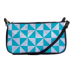 Triangle1 White Marble & Turquoise Colored Pencil Shoulder Clutch Bags by trendistuff
