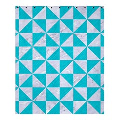 Triangle1 White Marble & Turquoise Colored Pencil Shower Curtain 60  X 72  (medium)  by trendistuff