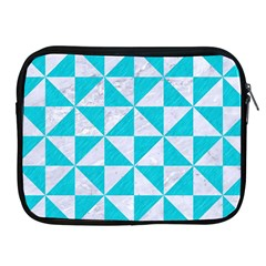 Triangle1 White Marble & Turquoise Colored Pencil Apple Ipad 2/3/4 Zipper Cases by trendistuff