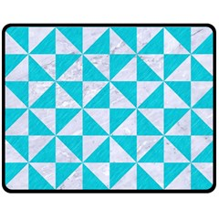 Triangle1 White Marble & Turquoise Colored Pencil Double Sided Fleece Blanket (medium)  by trendistuff