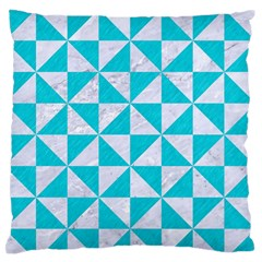 Triangle1 White Marble & Turquoise Colored Pencil Large Flano Cushion Case (one Side) by trendistuff