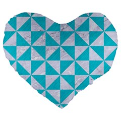 Triangle1 White Marble & Turquoise Colored Pencil Large 19  Premium Flano Heart Shape Cushions by trendistuff