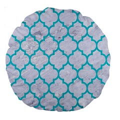 Tile1 White Marble & Turquoise Colored Pencil (r) Large 18  Premium Round Cushions by trendistuff