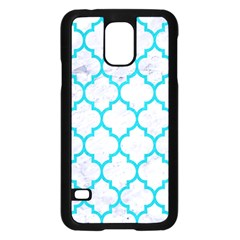 Tile1 White Marble & Turquoise Colored Pencil (r) Samsung Galaxy S5 Case (black) by trendistuff