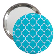 Tile1 White Marble & Turquoise Colored Pencil 3  Handbag Mirrors by trendistuff