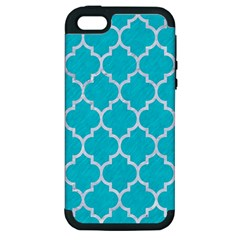Tile1 White Marble & Turquoise Colored Pencil Apple Iphone 5 Hardshell Case (pc+silicone) by trendistuff
