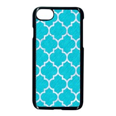 Tile1 White Marble & Turquoise Colored Pencil Apple Iphone 8 Seamless Case (black) by trendistuff