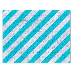 Stripes3 White Marble & Turquoise Colored Pencil (r) Rectangular Jigsaw Puzzl