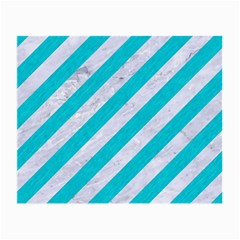 Stripes3 White Marble & Turquoise Colored Pencil (r) Small Glasses Cloth (2 Side) by trendistuff
