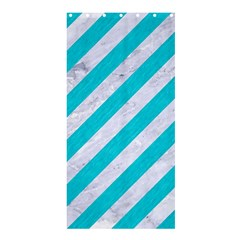 Stripes3 White Marble & Turquoise Colored Pencil (r) Shower Curtain 36  X 72  (stall)  by trendistuff