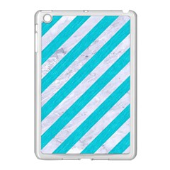 Stripes3 White Marble & Turquoise Colored Pencil (r) Apple Ipad Mini Case (white) by trendistuff