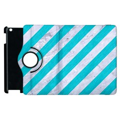 Stripes3 White Marble & Turquoise Colored Pencil (r) Apple Ipad 2 Flip 360 Case by trendistuff