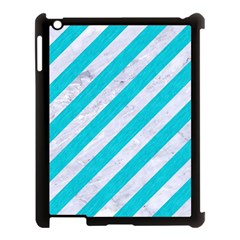 Stripes3 White Marble & Turquoise Colored Pencil (r) Apple Ipad 3/4 Case (black) by trendistuff